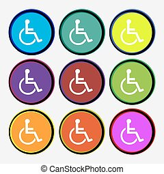 disabled icon sign Nine multi colored round buttons Vector...