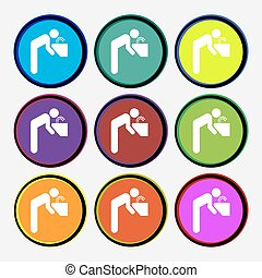 drinking fountain icon sign Nine multi colored round buttons...