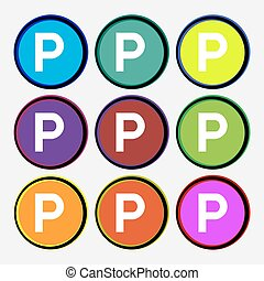 parking icon sign Nine multi colored round buttons Vector...