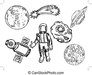 space objects - set of illustrations of space objects