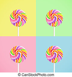 Lollipop over 4 colours window background, vintage and retro...