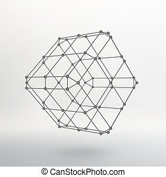 Cube of lines and dots. Cube of the lines connected to...