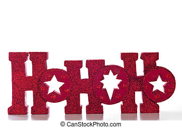 HoHoHo - Word spells HoHoHo in red glittery letters;...