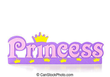 Princess Frame - Word spells princess in pink and purple...