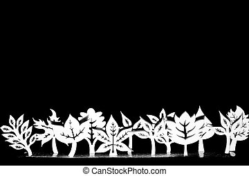 Artistic fantasy trees in a line - Artistic wooden trees and...