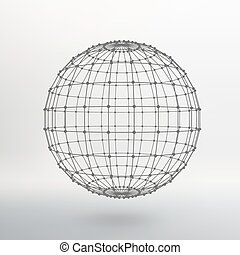 Scope of lines and dots. Ball of the lines connected to...