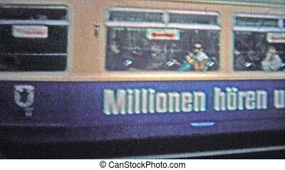 HAMBURG, GERMANY - 1966: Commuter train - Unique vintage 8mm...