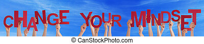 People Hands Holding Red Word Change Your Mindset Blue Sky -...