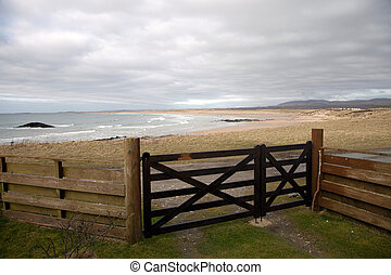 View of The Big Strand Beach, Laggan Bay, Islay, Scotland.
