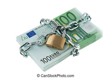 Locked European Currency - European currency with chain and...