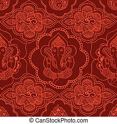 Indian seamless pattern with orname