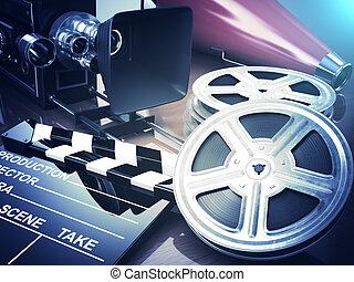 Video, movie, cinema vintage concept. Retro camera, reels...