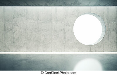 Blank space interior wall with one window. 3d render - Blank...