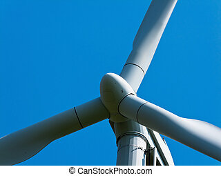 Wind Turbine - Closeup of wind turbine Horizontally framed...