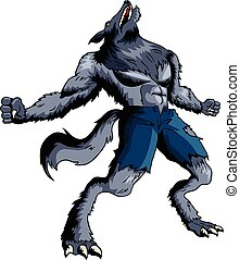 Werewolf - Cartoon illustration of a howling werewolf
