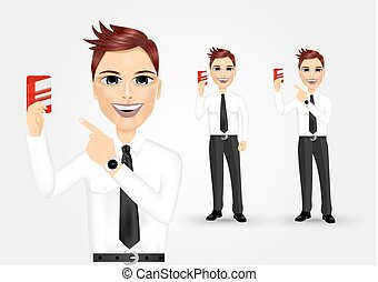 businessman pointing to business card