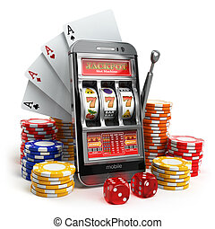 Online casino concept. Mobile phone, slot machine, dice and...