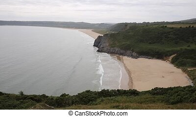 Beach between Oxwich Bay and Three Cliffs Bay south coast of...