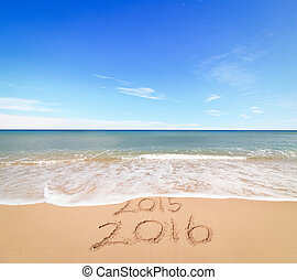 New Year 2016 is coming concept - inscription 2015 and 2016...