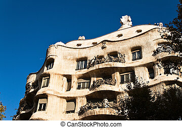 Casa Mila, Barcelona, Spain, Europe Horizontally framed shot...