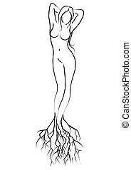 Fertility - Simple line art of a female figure with root...