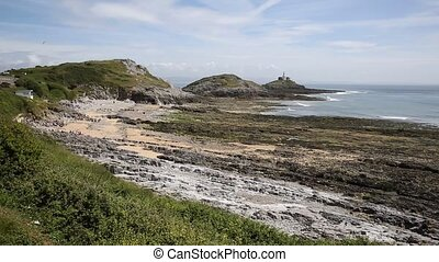 Bracelet Bay the Gower Peninsula South Wales with Mumbles...