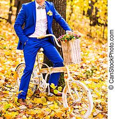 hombre, bicicleta, Traje