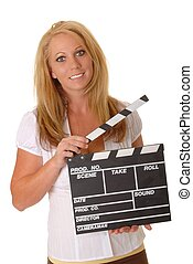 Blond Girl With Cinema Clapboard - olated lovely and sexy...