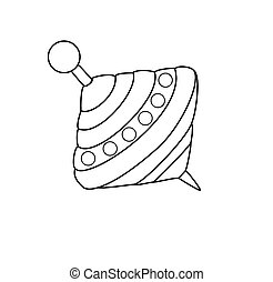Outlined humming-top, whirligig - vector illustration