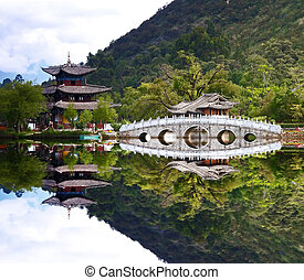 A scenery park near Lijiang China, named as a World Cultural...