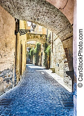 Ancient Alley in the medieval town of Orvieto, Italy