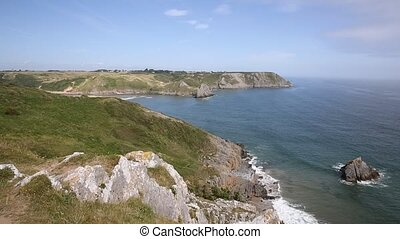 West view Three Cliff Bay the Gower - The Gower Peninsula...