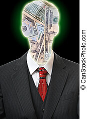 Anonymous Business Man - Head silhouetted figure with cash...