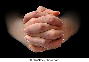 Holding hands tightly - White males hands interlocking his...