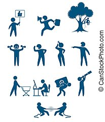 People scenes set - Vector illustration of a people scenes...