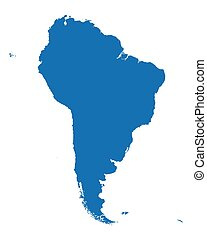 blue vector map of South America