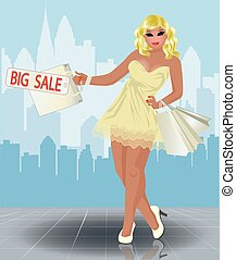 Plus size shopping girl in city, vector illustration