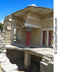 antiga, ruínas, de, Knossos, Palácio,