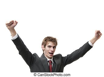 Happy Man with arms up in air isolated on white