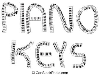 PIANO KEYS - The word PIANO KEYS written with bunches of...