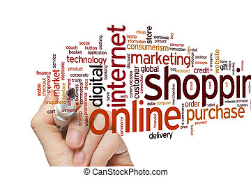 Online shopping word cloud - Online shopping concept word...