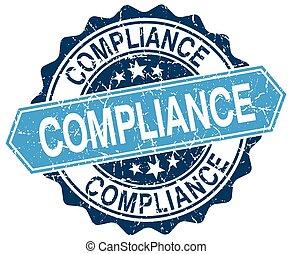 compliance blue round grunge stamp on white