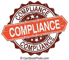 compliance orange round grunge stamp on white