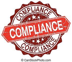 compliance red round grunge stamp on white
