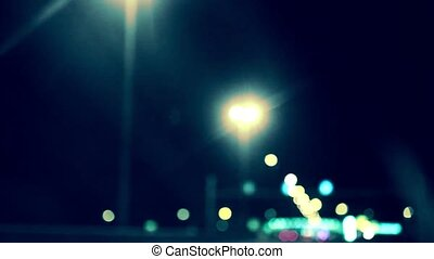 abstract night background bokeh city on move car in road -...