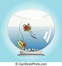 goldfish in a fishbowl - a vector illustration of a colorful...