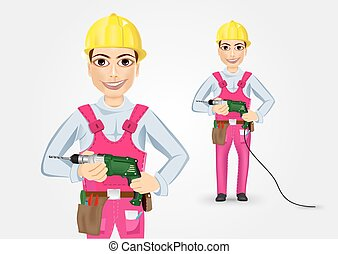 electrician or mechanic holding electric drill