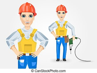electrician holding electric drill down