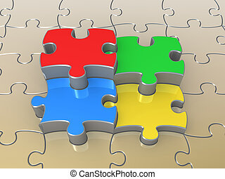 Colored Puzzle Pieces - Computer Generated Image -...