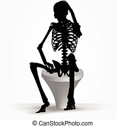 skeleton silhouette in thinking pose - Vector Image -...